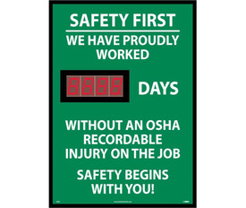 "Safety 1st We Have Worked Days No OSHA Injury LED Tracker - Aris Industrial Rectangular digital score board with the words ""SAFETY FIRST WE HAVE PROUDLY WORKED 8888 DAYS WITHOUT  AN OSHA RECORDABLE INJURY ON THE JOB SAFETY BEGINS WITH YOU"" In white text and green background."