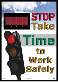 "Stop Take Time To Think Insight Digital Red LED Scoreboard - Aris Industrial Rectangular digital score board with the words ""STOP TAKE TIME TO WORK SAFELY ""In yellow, green and red text and picture of traffic light on red."