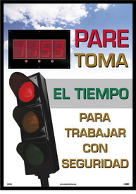 "Spanish Safety 1st We Have Proudly Worked Digital Scoreboard - Aris Industrial Rectangular digital score board with the Spanish words ""PARE TOMA EL TIEMPO PARA TRABAJAR CON SEGURIDAD"" in red, yellow and green text with a sky on the background."