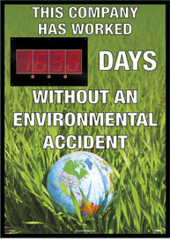 "Company Environmental Accident Digital Scoreboard Tracker - Aris Industrial Rectangular digital score board with the words ""THIS COMPANY HAS WORKED XXXX DAYS WITHOUT AN ENVIRONMENTAL ACCIDENT ""In white text with a grass background and the world globe in the grass."