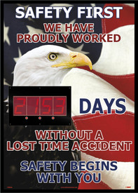 "Safety First Lost Time Accident Digital Scoreboard Tracker - Aris Industrial Rectangular digital score board with the words ""SAFETY FIRST WE HAVE PROUDLY WORKED xxxx DAYS WITHOUT A LOST TIME ACCIDENT SAFETY BEGINS WITH YOU"" In red and white text and set on an American flag with eagle background."