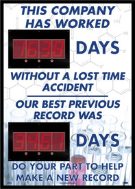"This Company Has Worked Days With No Accidents Scoreboard - Aris Industrial Rectangular digital score board with the words ""THIS COMPANY HAS WORKED __DAYS WITHOUT A LOST TIME ACCIDENT OUR BEST PREVIOUS RECORD WAS __DAYS DO YOUR PART TO HELP MAKE A NEW RECORD"" In black text."