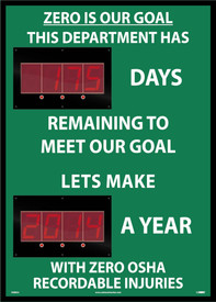 "Zero Is Our Goal Counts Days Remaining Scoreboard - Aris Industrial Rectangular digital score board with the words ""ZERO IS OUR GOAL THIS DEPARTMENT HAS 175 DAYS REMAINING TO MEET OUR GOAL LETS MAKE 2014 A YEAR WITH ZERO OSHA RECORDABLE INJURIES"" In white text with green background."