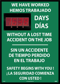 "Safety 1st Bilingual Lost Day Accident LED Scoreboard - Aris Industrial Rectangular English and Spanish digital score board with the words ""WE HAVE WORKED XXXX DAYS WITHOUT A LOST TIME ACCIDENT ON THE JOB ""In white text with green background."