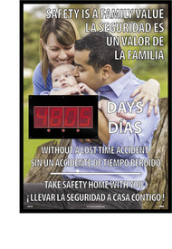 "Bilingual Safety Is A Family Value 2 Led Digital Scoreboard - Aris Industrial English and Spanish Rectangular shape digital score board with the words ""SAFETY IS FAMILY VALUE WITHOUT A LOST TIME ACCIDENT TAKE SAFETY HOME WITH YOU"" in white text with a picture of a family on the background."