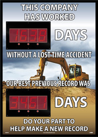 "Construction Themed Insight Digital LED Scoreboard - Aris Industrial Rectangular digital score board with the words ""THIS COMPANY HAS WORKED DAYS WITHOUT A LOST TIME ACCIDENT OUR BEST PREVIOUS RECORD WAS DAYS DO YOUR PART TO MAKE A NEW RECORD"" In white text construction tractor in background."