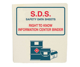 "Safety Data Sheet Storage White Binder - Aris Industrial White square shape binder data sheet with the word ""S.D.S SAFETY DATA SHEETS RIGHT TO KNOW INFORMATON CENTER BINDER"" in red and blue text with a graphic of 2 barrels."
