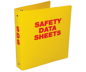 "Safety Data Sheet Yellow 3 Inch Storage Binder - Aris Industrial Yellow square shape bilingual SDS binder with the word ""SAFETY DATA SHEETS"" in red text."