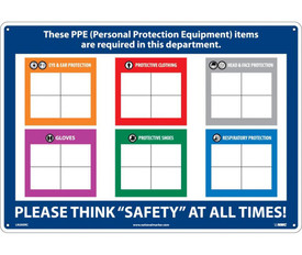 "Write On PPE Required Company Board - Aris Industrial Blue rectangular shape personal protection board with the word ""THESE PPE (PERSONAL PROTECTION EQUIPMENT) ITEMS ARE REQUIRED IN THIS DEPARTMENT. PLEASE THINK ""SAFETY"" AT ALL TIMES"" in white text."