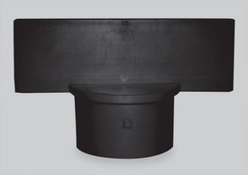 Chrome Black Sign Adapter - Aris Industrial Black sign adapter with a round end to fit over a post and a rectangle top for sign attachment