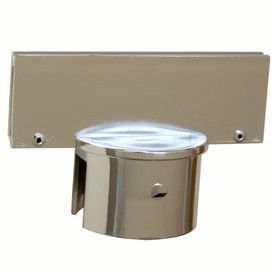 Chrome Sign Adapter - Aris Industrial Silver Chrome sign adapter with a round end to fit over a post and a rectangle top for sign attachment