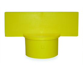 Yellow Sign Adapter - Aris Industrial Yellow sign adapter with a round end to fit over a post and a rectangle top for sign attachment