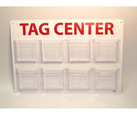 8 Pocket Tag Center Holder - Aris Industrial Tag Center with 7 acrylic slots on a back wall to place tags in.