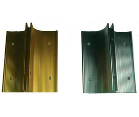 2 Sided View Metal Wall Bracket Sign Holder - Aris Industrial Two metal wall bracket sign holders with colors of gold and silver and holes on both sides of each plate to screw onto a wall.