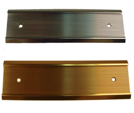 Mounted Wall Plate Sign Holder - Aris Industrial Two metal wall  plate sign holders with colors of gold and silver and 2 holes in each plate to screw onto a wall.