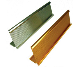 Standard Desk Plate Sign Holder - Aris Industrial Two desk stand up metal plate holders with colors of gold and silver in a diagonal position.