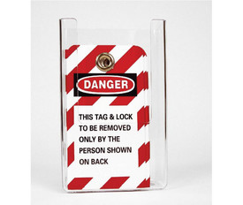 "Lock Out And Danger Tags Acrylic Holder - Aris Industrial Red and White danger sign  with the word "" DANGER ""  with legend."