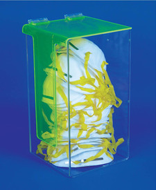 Acrylic Dust Face Mask PPE Dispenser - Aris Industrial clear acrylic dispense for dust face masks. Lid is raised to access masks.