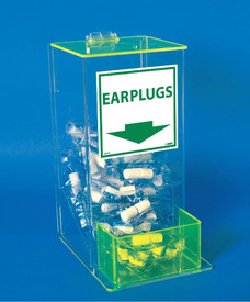 Acrylic Dispenser Ear Plugs Small - Aris Industrial clear acrylic ear plug dispenser with see through green acrylic flip top lid and slide out opening at bottom for access to ear plugs.