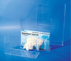 PPE Glove Acrylic Dispensers - Aris Industrial 3 Clear Acrylic Rectangle Disposable Glove Box Holder Wall Dispenser. Short dispenser hold 1 box of gloves. Medium dispenser holds 2 box of gloves and tall dispenser holds 3 box of gloves.