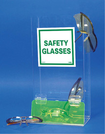 Acrylic Visitor Safety Glasses Dispenser - Aris Industrial clear acrylic dispenser with  green see through acrylic flap at the bottom where safety glasses can be taken.