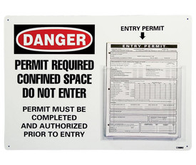"Confined Space Message And Permit Holder - Aris Industrial White square sign with the words ""DANGER PERMIT REQUIRED CONFINED SPACE DO NOT ENTER PERMIT MUST BE COMPLETED AND AUTHORIZED PRIOR TO ENTRY"" In black and white text and a clear acrylic holder for entry permits next attached to the sign and next to the text"