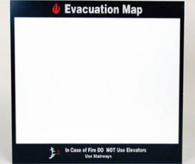 "Emergency Facility Evacuation Map Display - Aris Industrial White square sign with the word ""EVACUATION MAP"" In white text with black boarder."