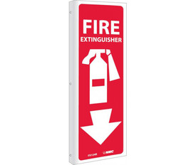 Fire Extinguisher Vertical Graphic 12x4 Sign - Red long rectangle sign with Fire Extinguisher written in white at top of vertical sign above graphic of white fire extinguisher and white downward arrow.