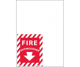 "Fire Extinguisher Striped Red And White Edge Signs - Aris Industrial Red square sign with the word ""FIRE EXTINGUISHER"" in white text and a white arrow pointing below. Red and White slant stripes around edge of sign."
