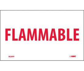 "Flammable 3x5 PS Vinyl Sign - Aris Industrial White rectangular sign with a word ""FLAMMABLE"" in red text"