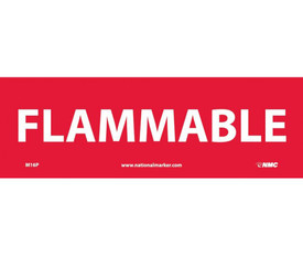 "Flammable 4x12 Red Sign - Aris Industrial Red rectangular sign with the word ""FLAMMABLE"" in white text"