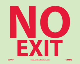 "No Exit Vinyl And Rigid Plastic Glow Signs - Aris Industrial Yellow Glow rectangular horizontal sign with the words ""NO EXIT"" in red text."