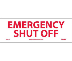 "Emergency Shut Off  4x12 Horizontal Sign - Aris Industrial White rectangular horizontal sign with the  words ""EMERGENCY SHUT OFF"" in red text"