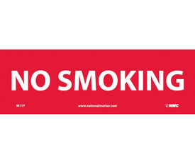 "No Smoking 4x12 Horizontal Red Sign - Aris Industrial Red rectangular horizontal sign with the  words ""NO SMOKING"" in white text"