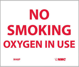 "No Smoking Oxygen In Use Vinyl 5x6 Sign - Aris Industrial White square sign with the words ""NO SMOKING OXYGEN IN USE"" in red text."