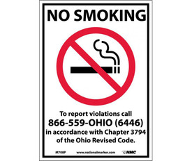 "No Smoking Ohio Forbidden Graphic Signs - Aris Industrial White rectangular vertical sign with the words ""NO SMOKING TO REPORT VIOLATIONS CALL 866-559-OHIO (6446) IN ACCORDANCE WITH CHAPTER 3794 OF THE OHIO REVISED CODE"" in black text with no smoking symbol in middle of sign below the words NO SMOKING."