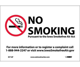 "No Smoking Iowa Forbidden Graphic Signs - Aris Industrial White rectangular horizontal sign with the No Smoking symbol on the left side and the words ""NO SMOKING PURSUANT TO THE LOWA SMOKEFREE AIR ACT FOR MORE INFORMATION OR REGISTER A COMPLAINT CALL 1-888-944-2247 OR VISIT WWW.LOWASMOKEFREEAIR.GOV"" in black text."