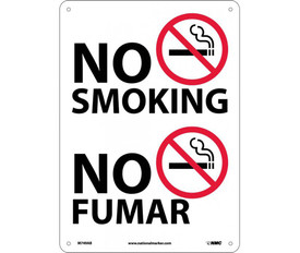 "No Smoking Bilingual Forbidden Graphic Sign - Aris Industrial White rectangular vertical sign with the graphic of no smoking and a word ""NO SMOKING"" in black text and four holes for mounting. The lower half of the sign says ""NO FUMAR"" next to the No Smoking Symbol."