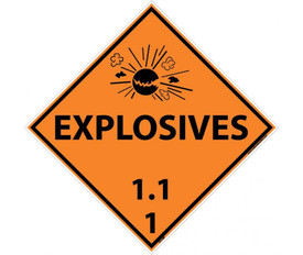 "DOT Explosives 1.1 1 Orange Placard Sign - Aris Industrial orange diamond DOT Placard with the words ""EXPLOSIVES 1.1 1"" In black text below the explosive graphic."