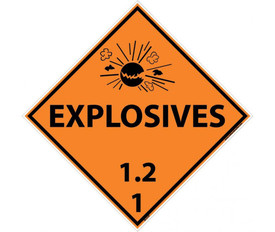 "DOT Explosives 1.2 1 Orange Placard Sign - Aris Industrial orange diamond DOT Placard with the words ""EXPLOSIVES 1.2 1"" In black text below the explosive graphic."
