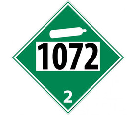 "DOT 1072 2 Green Placard Sign - Aris Industrial green diamond DOT Placard with the numbers ""1072 2"" In black text."