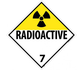 "DOT Radioactive 7 Placard Sign - Aris Industrial Yellow and White diamond DOT Placard sign with the word ""RADIOACTIVE7""in black text and the radioactive fan symbol in the top corner."