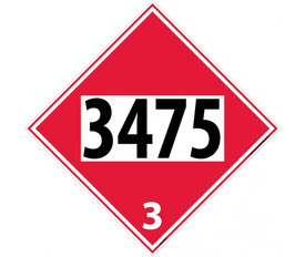 "DOT 3475 3 Red Placard Sign - Aris Industrial red diamond DOT Placard with the numbers ""3475 3"" In black text."