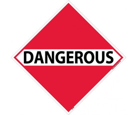 "DOT Dangerous Placard Sign - Aris Industrial Red diamond shape DOT Placard with a word ""DANGEROUS"" In black text."