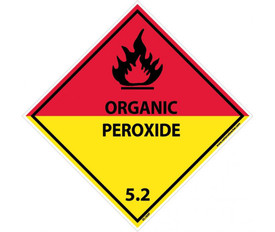 "DOT Organic Peroxide 5.2 Blank Placard Signs And Labels - Aris Industrial Red top and Yellow bottom diamond shape DOT Shipping label with a words ""ORGANIC PEROXIDE 5.2"" In black text beneath the flammable symbol."