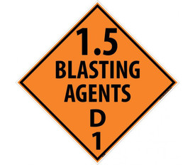 "DOT 1.5 Blasting Agents D1 Orange Placard Sign - Aris Industrial orange diamond shape DOT Placard with the words ""1.5 BLASTING AGENT D1"" In black text."