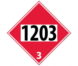 "DOT 1203 3 Red Placard Sign - Aris Industrial red diamond DOT Placard with the numbers ""1203 3"" In black text."
