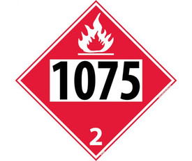 "DOT 1075 2 Red Placard Sign - Aris Industrial red diamond DOT Placard with the numbers ""1075 2"" In black text beneath flammable symbol. Number 2 is in lower corner in white color."