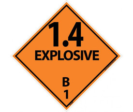 "DOT 1.4 Explosives B1 Orange Placard Signs And Labels - Aris Industrial orange diamond shape DOT Placard with the words ""1.4 EXPLOSIVE B1"" In black text."