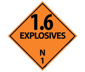 "DOT 1.6 Explosives N1 Placard Signs And Labels - Aris Industrial orange diamond shape DOT Placard with the words ""1.6 EXPLOSIVE N1"" In black text."